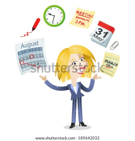 Vector illustration of a cartoon character: Business woman juggling with time management icons of a calendar, schedule, meeting deadline. - stock vector