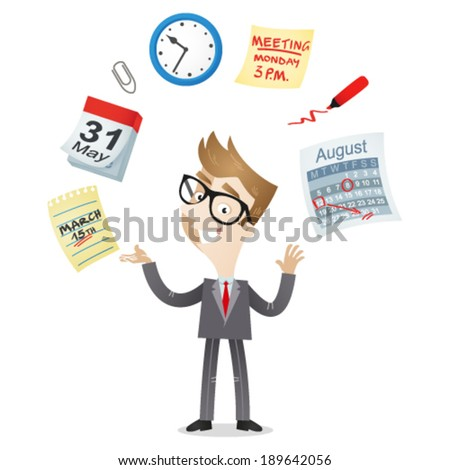 Vector illustration of a cartoon character: Businessman juggling with time management icons of a calendar, schedule, meeting deadline. - stock vector