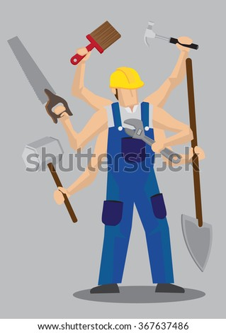 Vector illustration of a cartoon construction worker character in blue overall and yellow helmet with multiple arms holding a variety of work tools. - stock vector