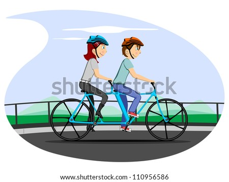 Vector illustration of a cartoon couple in cycling mood on nature background. Please see some similar pictures in my lightboxs: - stock vector