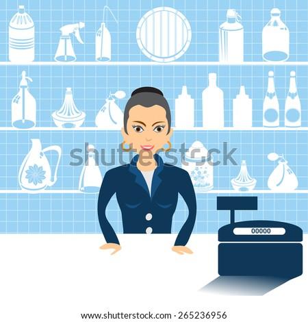 Vector illustration of a cartoon female salesman beside cash register. - stock vector