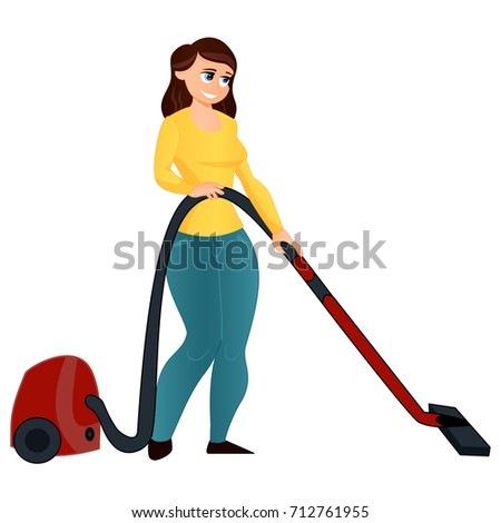 Vector Illustration Of A Cartoon Girl With Vacuum Cleaner Isolated White Background Flat