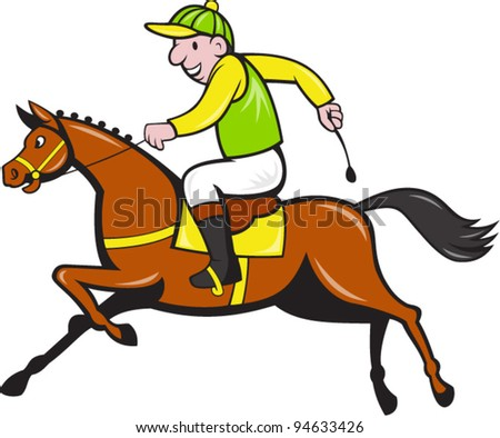 vector Illustration of a cartoon horse and equestrian jockey racing viewed from side. - stock vector