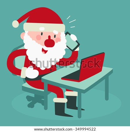 Vector illustration of a cartoon santa sitting in front of a computer and talking on the phone. - stock vector