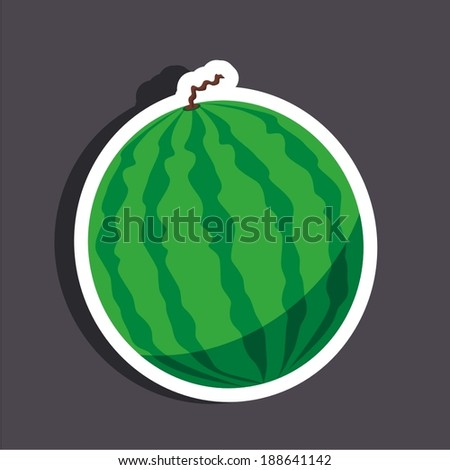 Vector illustration of a cartoon stickers of fruits - watermelon - stock vector