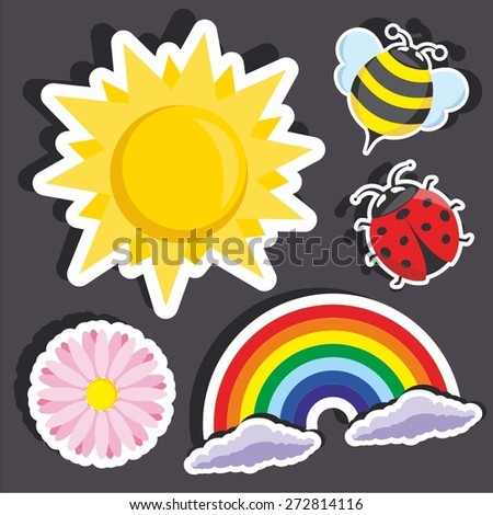 Vector illustration of a cartoon stickers of summer symbols - stock vector