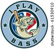 """vector  illustration of a cartoon vector Largemouth bass playing baseball with bat and american stars and stripes flag enclosed in circle with words """"I play bass"""" - stock vector"""