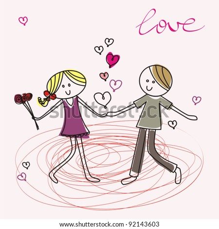 vector illustration of a cartoon young lady and  young man fall in love - stock vector