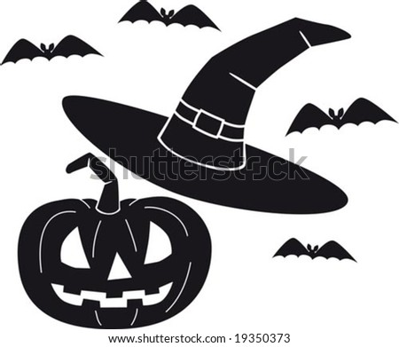 Vector Illustration Carved Pumpkin Bats Witch Stock Vector 19350373
