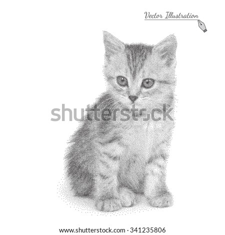 Vector illustration of a cat in black and white graphic style- pointillism over white - stock vector