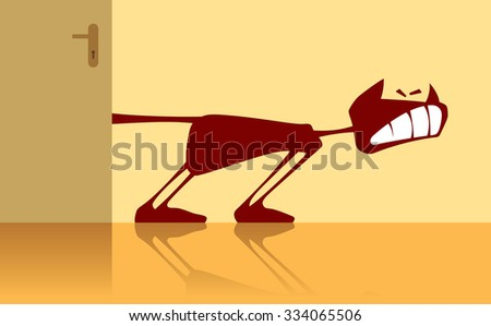 Vector illustration of a cat with a sandwiched tail. - stock vector
