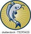 vector illustration of a Catfish jumping retro woodcut style set inside circle - stock vector