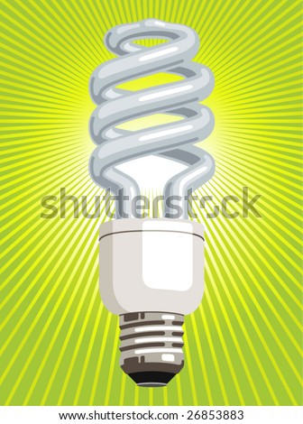 Vector illustration of a CFL (compact fluorescent lamp), with green radiating light beams. - stock vector