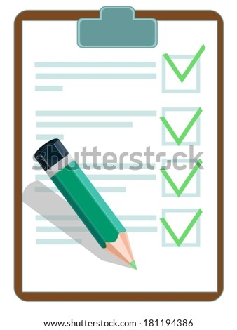 Vector illustration of a checklist with pencil - stock vector