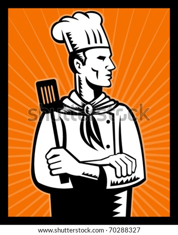 vector illustration of a chef cook holding spatula looking up - stock vector