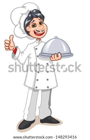 Vector illustration of a chef holding silver platter. He is showing thumbs up. - stock vector