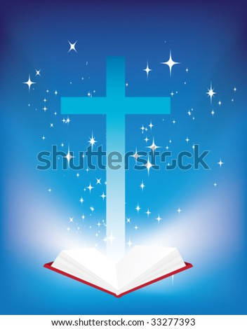 vector illustration of a christian cross and light coming from the bible - stock vector