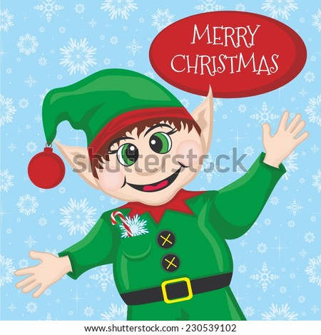 Vector illustration of a Christmas and New Year postcard with cute elf - stock vector