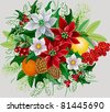 Vector illustration of a christmas bunch with poinsettia, holly, orange, lemon, rowan branch, pine cones and spruce branches - stock vector
