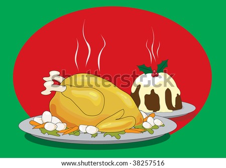 Vector illustration of a Christmas dinner with roast turkey and Christmas pudding - stock vector
