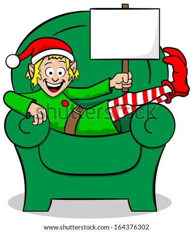 vector illustration of a christmas elf on strike at christmas