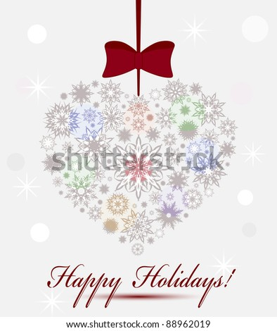 Vector illustration of a Christmas heart made with snowflakes isolated on grey background. Eps 10 - stock vector