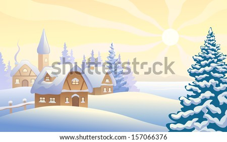 Vector illustration of a Christmas morning village - stock vector