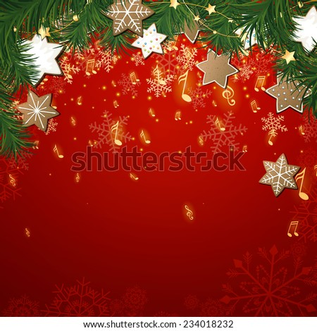 Vector Illustration of a Christmas Music Background - stock vector
