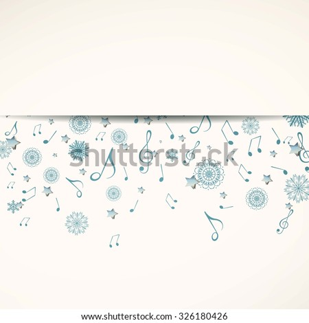 Vector Illustration of a Christmas Music Background with Music Notes and Stars - stock vector
