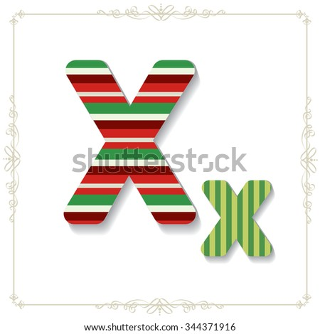Vector illustration of a  Christmas/New Year related font. for your art and design. Letter x