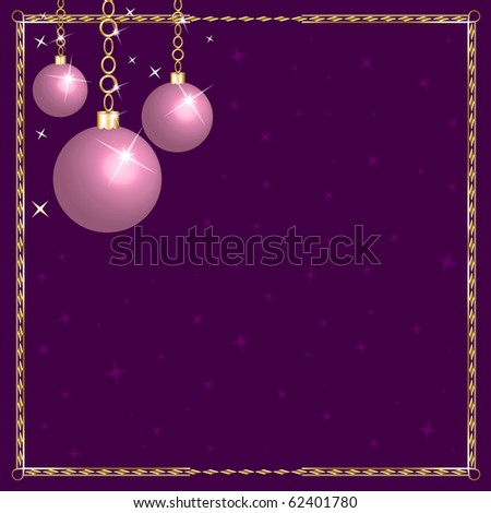 Vector Illustration of a Christmas Pink Purple Ornaments.