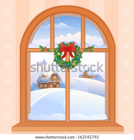 Vector illustration of a Christmas window view with a snowy landscape - stock vector