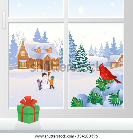 Vector illustration of a Christmas window view with snowy houses and kids making a snowman - stock vector