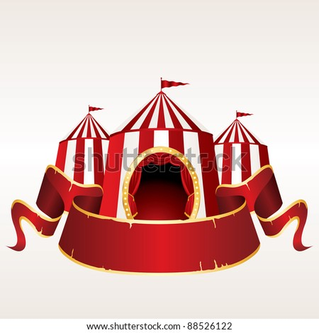 vector Illustration of a circus tent with blank red banner - stock vector