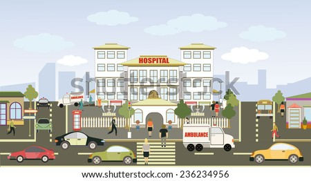 Vector illustration of a city hospital with colorful icons of cars, trees and buildings - stock vector