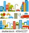 Vector illustration of a city street with colorful icons of cars, trees and buildings - stock vector