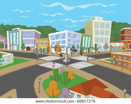 Vector illustration of a city street with colorful trees and buildings - stock vector