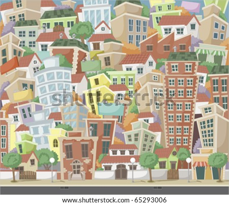 Vector illustration of a city with colorful trees and buildings - stock vector