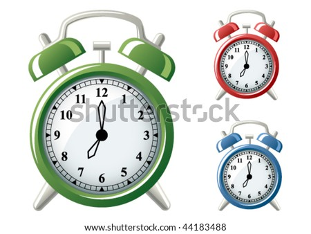 Vector illustration of a classic alarm clock in three different colors.  Use vector software to set your own time.  Set the center of the black circle as the center of rotation for each hand. - stock vector