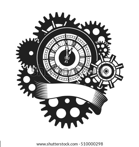 Vector Illustration Of A Clock Face Surrounded By Mechanical Parts And Wrap Holiday Banner Black