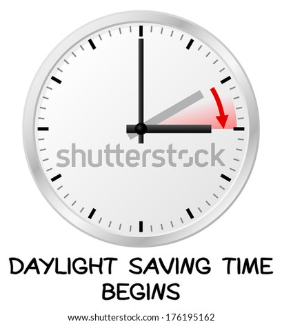 vector illustration of a clock switch to summer time  daylight saving time begins - stock vector