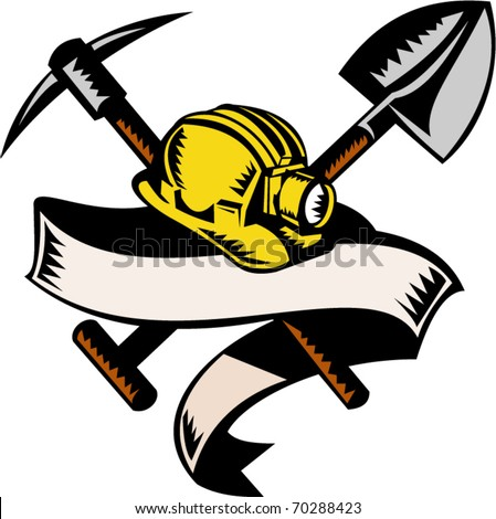 vector illustration of a coal miner hardhat hat ,shovel or spade and pickax with scroll isolated on white done in retro woodcut style
