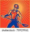 vector illustration of a Coal miner worker at work with spade shovel front view  done in retro woodcut style with sunburst in background - stock photo