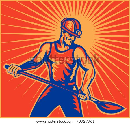 vector illustration of a Coal miner worker at work with spade shovel front view  done in retro woodcut style with sunburst in background - stock vector