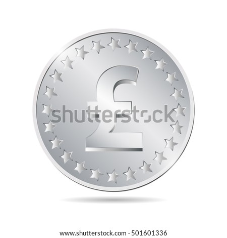 vector illustration of a coin with pound sign. EPS