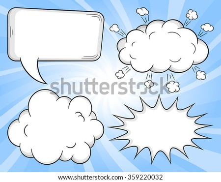 vector illustration of a collection of comic style speech bubbles - stock vector