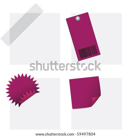 Vector - Illustration of a collection of stationery set with sticky tape, notes, tags - stock vector