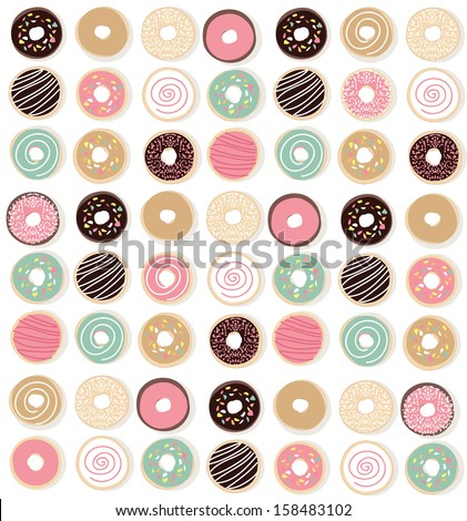 Vector illustration of a colorful background made up of colorful donuts. - stock vector