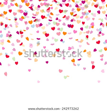 Vector Illustration of a Colorful Background with Heart Confetti - stock vector