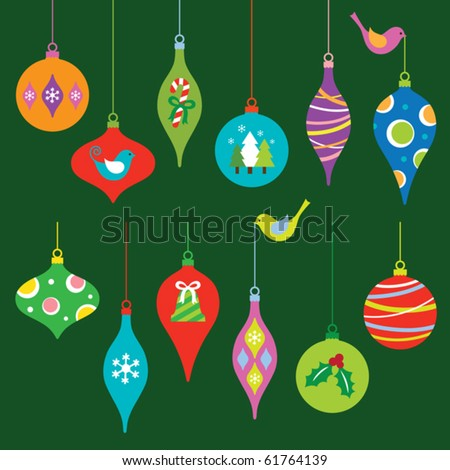 Vector illustration of a colorful Christmas ornaments collection. - stock vector
